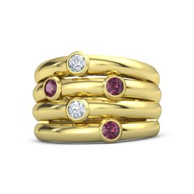 18K Yellow Gold Ring with Rhodolite Garnet and Diamond