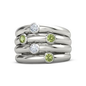 Palladium Ring with Peridot and Diamond