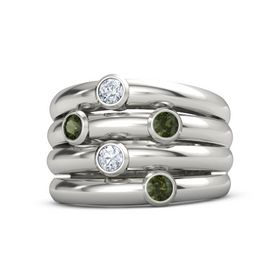 Platinum Ring with Green Tourmaline and Diamond