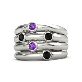 Platinum Ring with Black Onyx and Amethyst