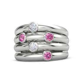 Platinum Ring with Pink Tourmaline and Diamond