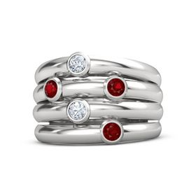 Sterling Silver Ring with Ruby and Diamond