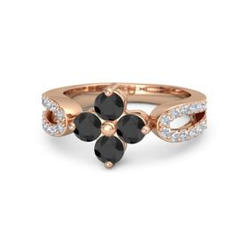 14K Rose Gold Ring with Black Diamond and Diamond