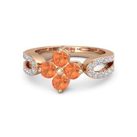 14K Rose Gold Ring with Fire Opal and Diamond