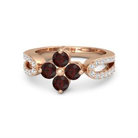 14K Rose Gold Ring with Red Garnet & White Sapphire
