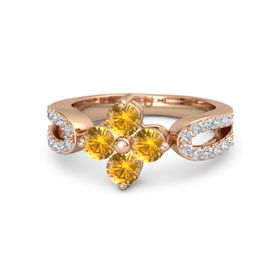 14K Rose Gold Ring with Citrine and Diamond