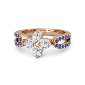 14K Rose Gold Ring with White Sapphire & Sapphire
