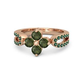 14K Rose Gold Ring with Green Tourmaline and Alexandrite