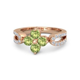 14K Rose Gold Ring with Peridot & Diamond