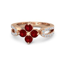 14K Rose Gold Ring with Ruby and Diamond