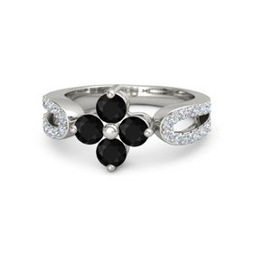 14K White Gold Ring with Black Onyx & Diamond