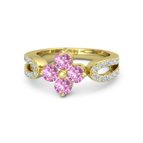 14K Yellow Gold Ring with Pink Sapphire and Diamond