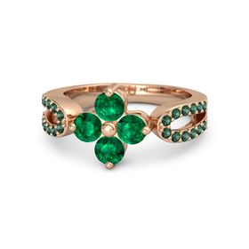 18K Rose Gold Ring with Emerald & Alexandrite