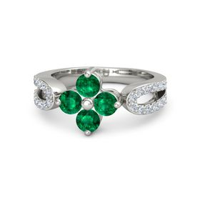 18K White Gold Ring with Emerald & Diamond