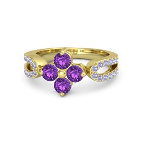18K Yellow Gold Ring with Amethyst and Tanzanite