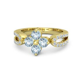 18K Yellow Gold Ring with Aquamarine and Diamond