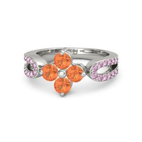Palladium Ring with Fire Opal and Pink Sapphire