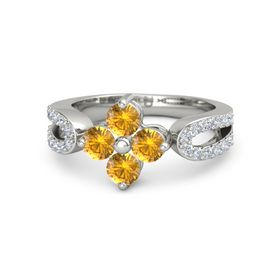 Platinum Ring with Citrine and Diamond