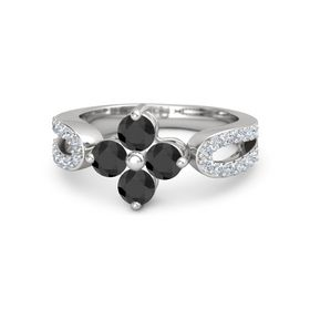Sterling Silver Ring with Black Diamond and Diamond
