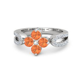 Sterling Silver Ring with Fire Opal & Diamond