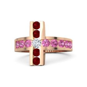Round Diamond 14K Rose Gold Ring with Pink Tourmaline and Ruby