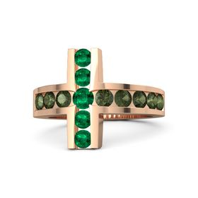 Round Emerald 14K Rose Gold Ring with Green Tourmaline and Emerald