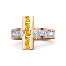 Round Citrine 14K Rose Gold Ring with Diamond and Citrine