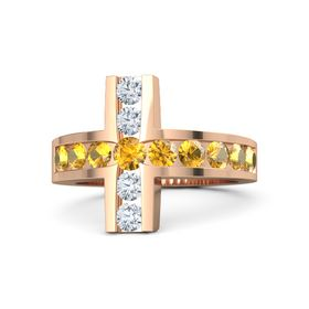 Round Citrine 14K Rose Gold Ring with Citrine and Diamond