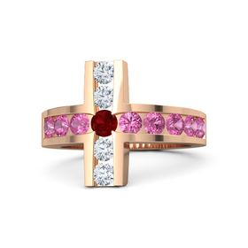 Round Ruby 14K Rose Gold Ring with Pink Tourmaline and Diamond