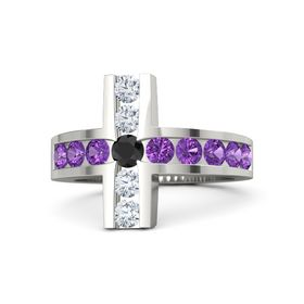 Round Black Diamond 14K White Gold Ring with Amethyst and Diamond