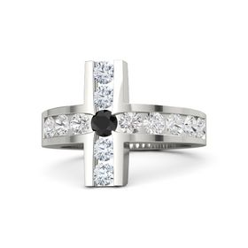 Round Black Diamond 14K White Gold Ring with White Sapphire & Diamond