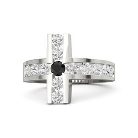 Round Black Diamond 14K White Gold Ring with White Sapphire