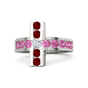 Round Diamond 14K White Gold Ring with Pink Tourmaline and Ruby