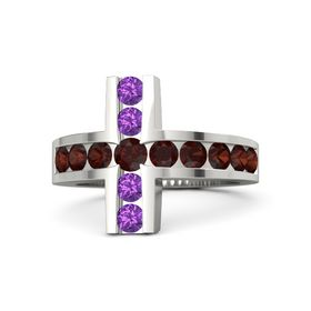 Round Red Garnet 14K White Gold Ring with Red Garnet and Amethyst