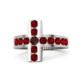 Round Red Garnet 14K White Gold Ring with Ruby