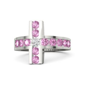 Round White Sapphire 14K White Gold Ring with Pink Sapphire