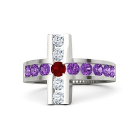 Round Ruby 14K White Gold Ring with Amethyst and Diamond