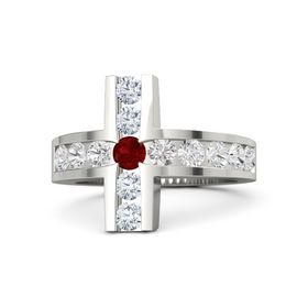 Round Ruby 14K White Gold Ring with White Sapphire and Diamond