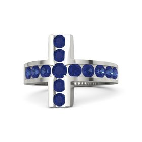 Round Blue Sapphire 14K White Gold Ring with Blue Sapphire