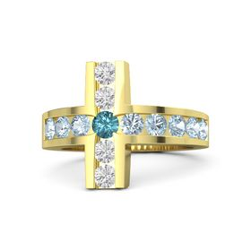 Round London Blue Topaz 14K Yellow Gold Ring with Aquamarine & White Sapphire