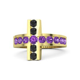 Round Amethyst 14K Yellow Gold Ring with Amethyst and Black Diamond