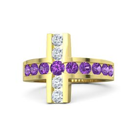 Round Amethyst 14K Yellow Gold Ring with Amethyst and Diamond