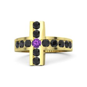 Round Amethyst 14K Yellow Gold Ring with Black Diamond
