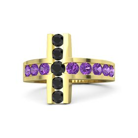 Round Black Diamond 14K Yellow Gold Ring with Amethyst and Black Diamond