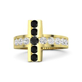 Round Black Diamond 14K Yellow Gold Ring with White Sapphire and Black Onyx