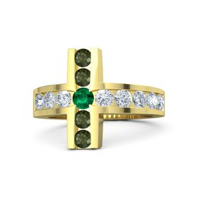 Round Emerald 14K Yellow Gold Ring with Diamond & Green Tourmaline