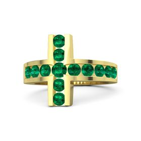 Round Emerald 14K Yellow Gold Ring with Emerald