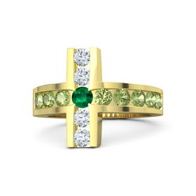 Round Emerald 14K Yellow Gold Ring with Peridot & Diamond