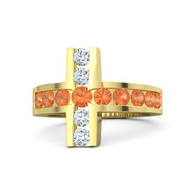 Round Fire Opal 14K Yellow Gold Ring with Fire Opal and Diamond