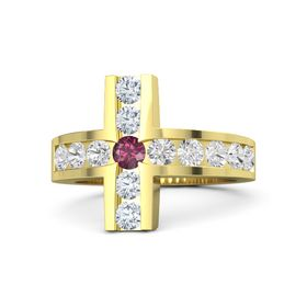 Round Rhodolite Garnet 14K Yellow Gold Ring with White Sapphire & Diamond